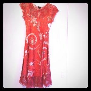 Red Crushed Silk Komarov Mid Dress